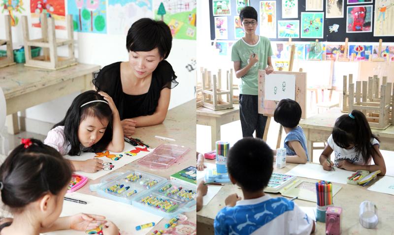 卡通简笔画,油画棒水粉颜料相结合上色的方法来授学